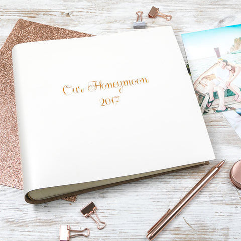 Leather Honeymoon Album with Romantic Font