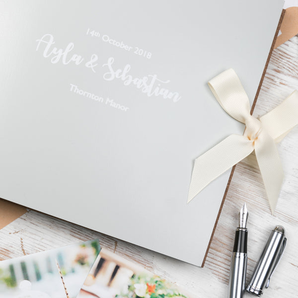 Personalised Large Leather Guest Book with Ribbon