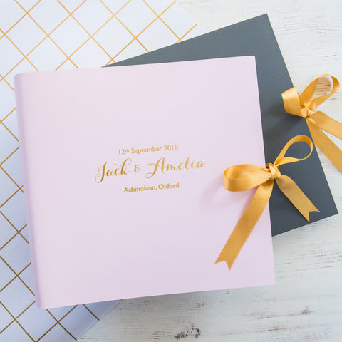 Large Leather Guest Book with Gold Ribbon