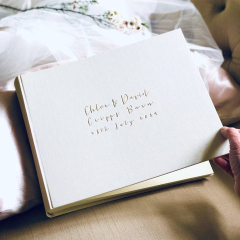 Luxurious and Large Landscape Linen Guest Book