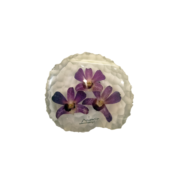 Paperweight with 3 real orchid flowers