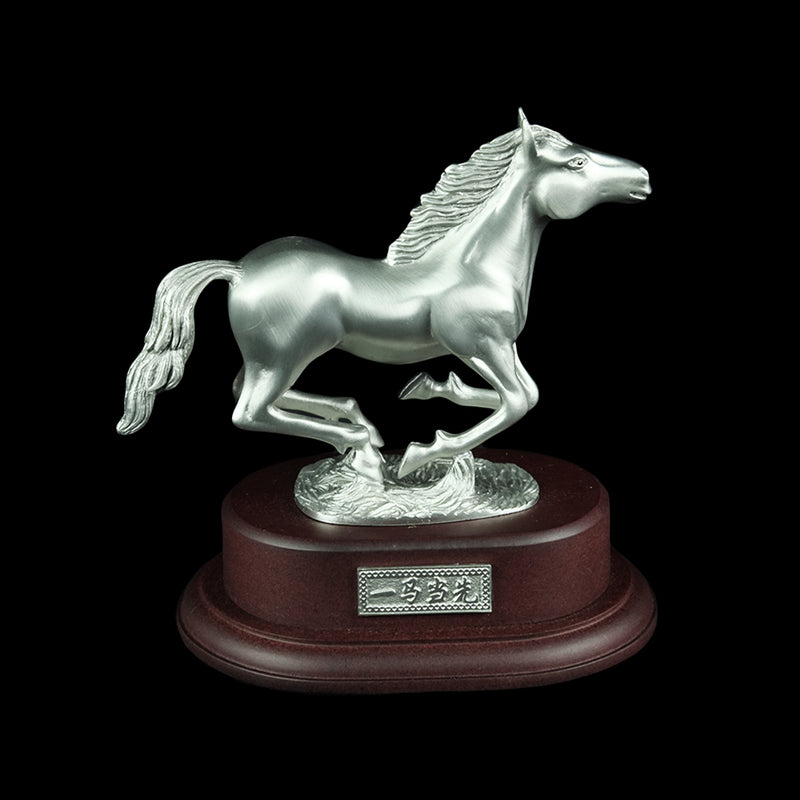 Pewter Figurine (Horse Running on Wooden Base) - PF9617B