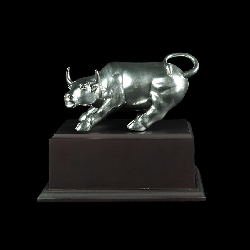 Pewter Figurine (Wall Streets Bull on Wooden Base) - PF9626