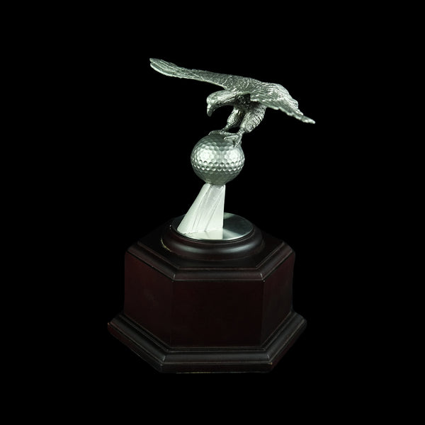 Pewter Figurine (Eagle on Ball and Wooden Base) - PF9861
