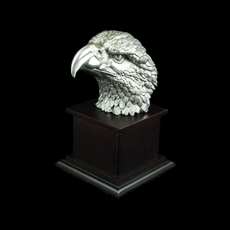 Pewter Figurine (Eagle Head on Wooden Base) - PF9864