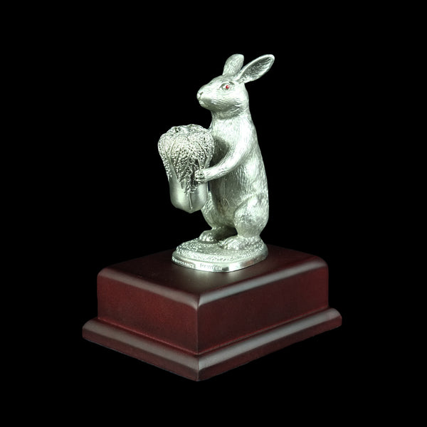 Pewter Figurine (Rabbit on Wooden Base) - PF9871S