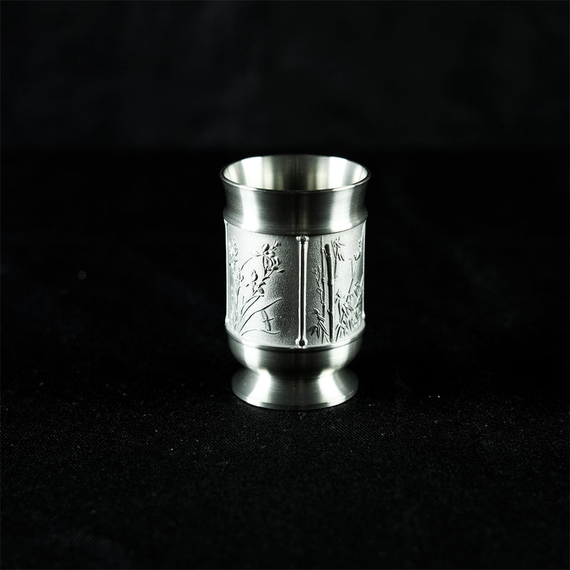 Pewter tea cup with 4 seasons design- PW2623s
