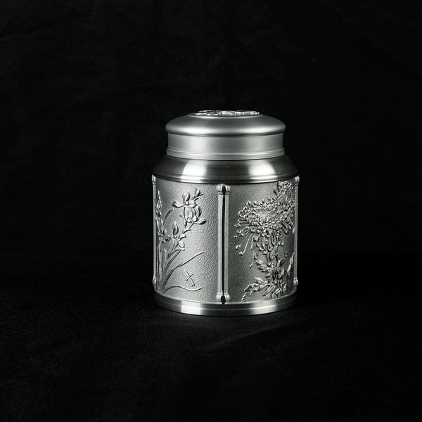 Pewter Tea Caddy 4 Seasons H9.5cm- PW5551s