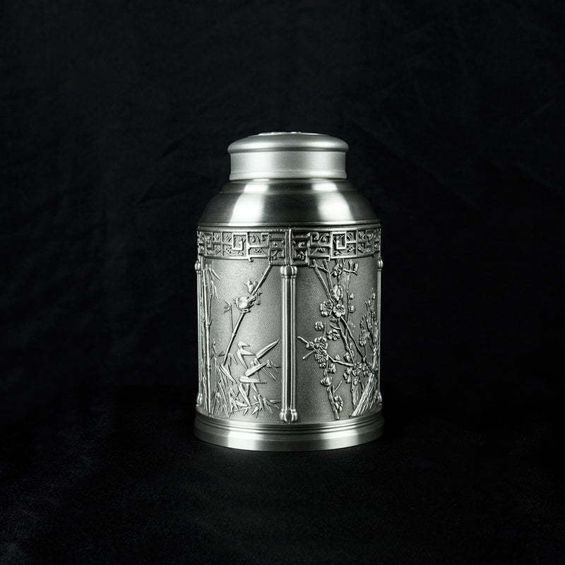 Pewter Tea Caddy 4 Seasons H17cm- PW5553s