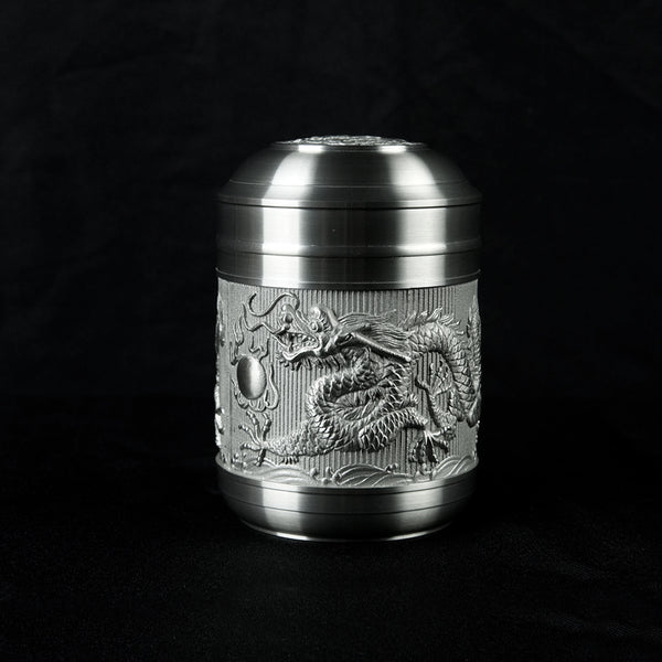 Pewter tea Caddy, Dragon H9.4cm- PW5564s