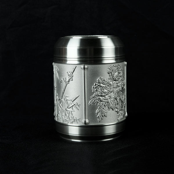 Pewter Tea Caddy, 4 Seasons H12.7cm- PW5566s