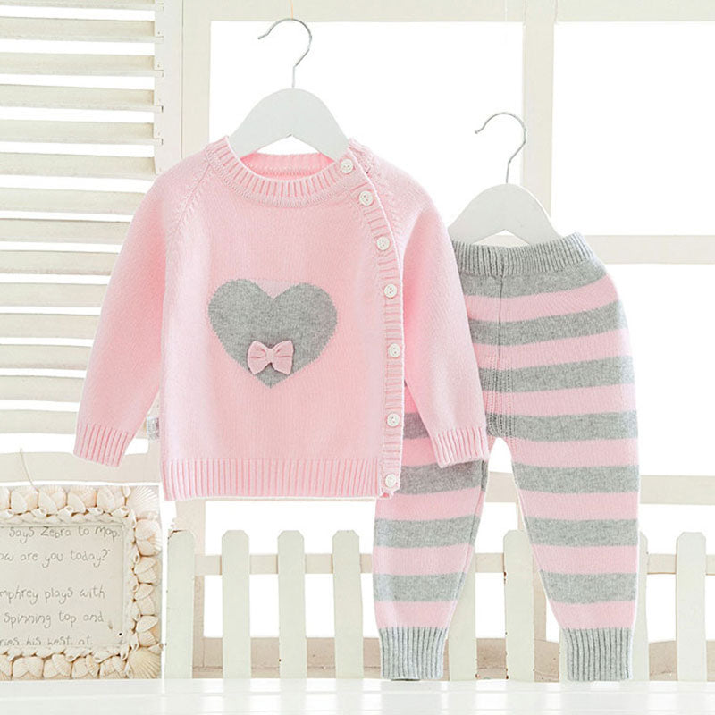 2pcs Woollen Knitted Set For New Born Baby Girl/Boy