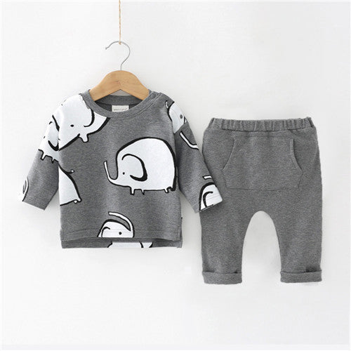 2pcs Elephant Print Set For 0-24 Months' Baby