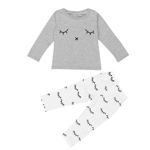 2pc Eyelash Print Set For 0-24 Months' Baby