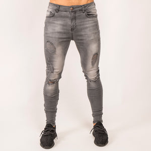 Ripped Denim Jeans - Grey Wash