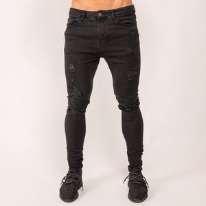 Noir Ripped Denim Jeans - Washed Black