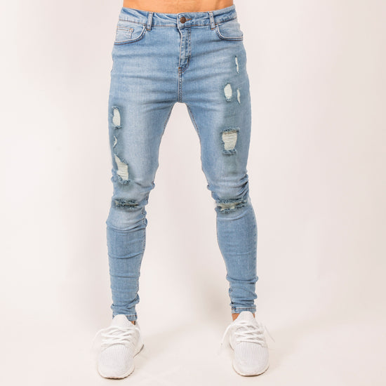Stoned Ripped Denim Jeans - Light Wash