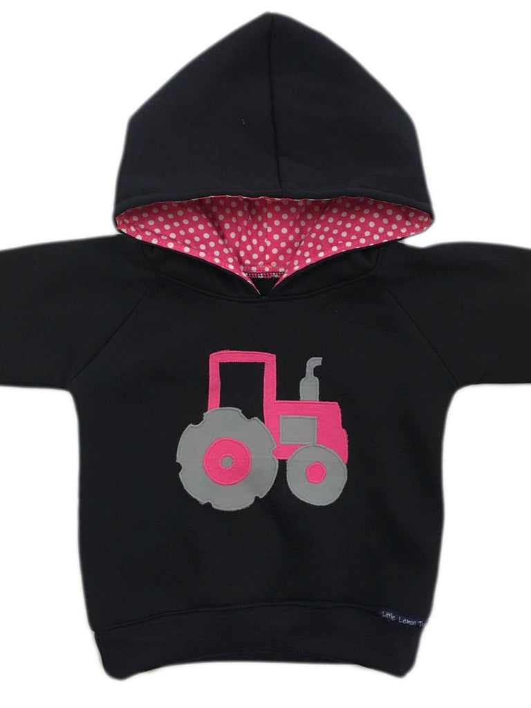 Hoodie | Pink Tractor on Navy