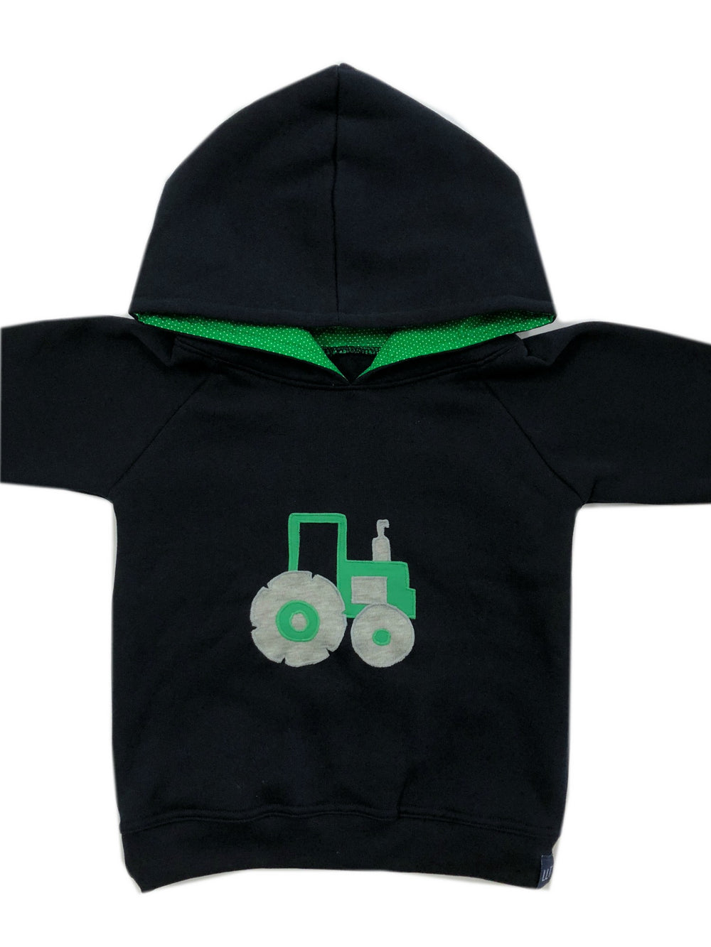 Hoodie | Green Tractor on Navy