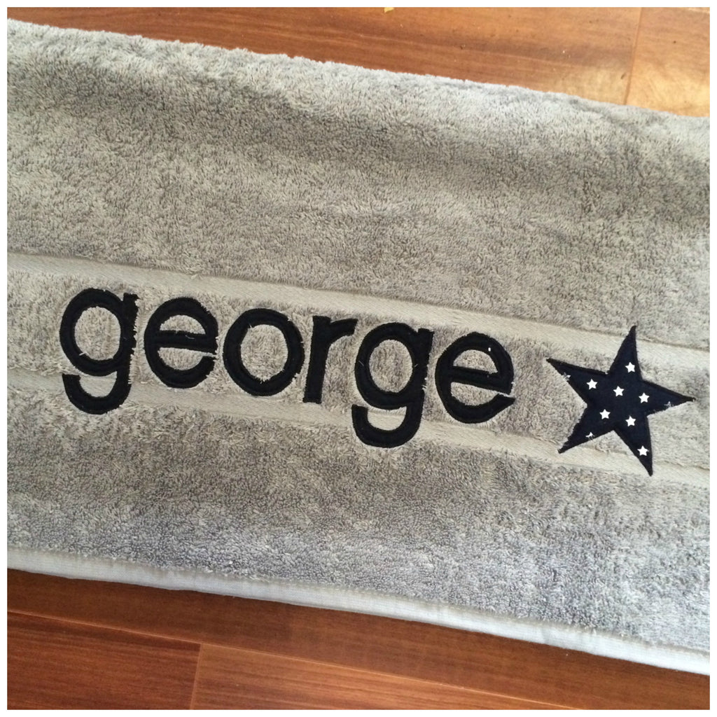 Personalised Bath Towel | Light Grey