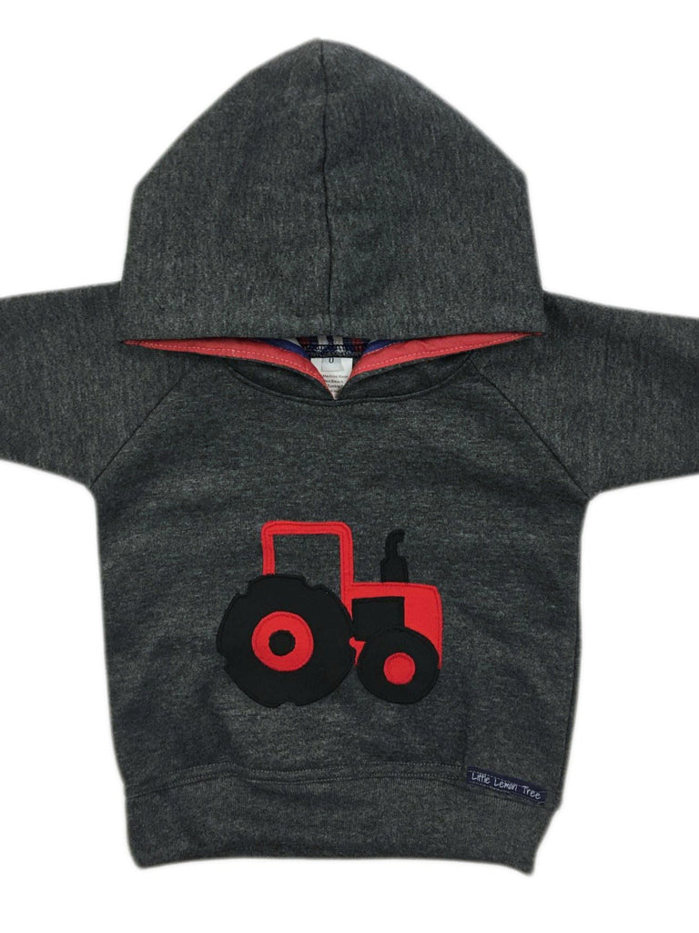 Hoodie | Red Tractor on Dark Grey