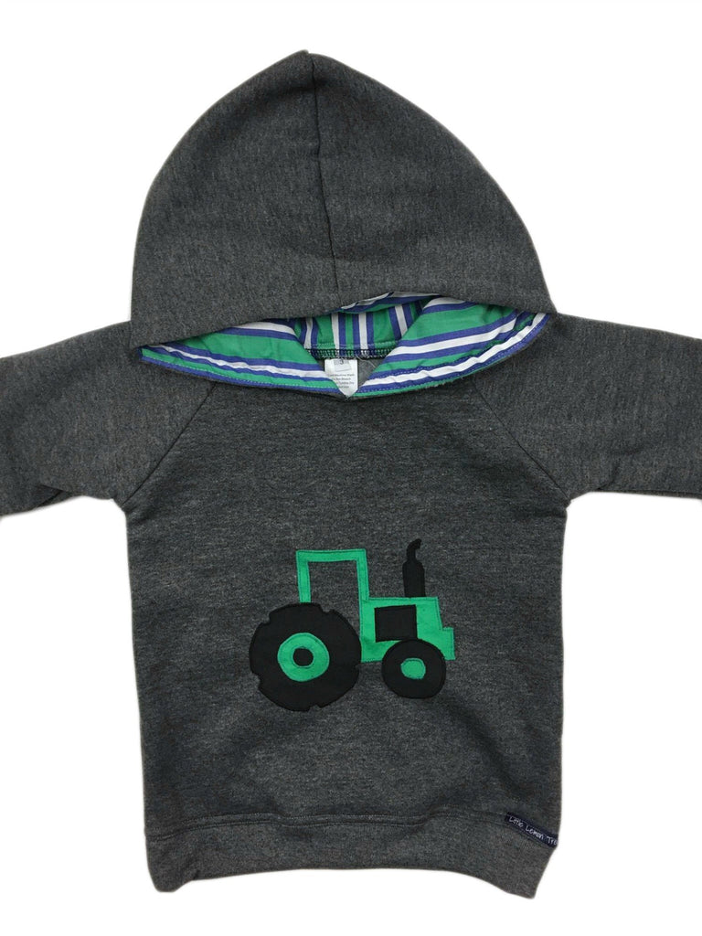 Hoodie | Green Tractor on Dark Grey