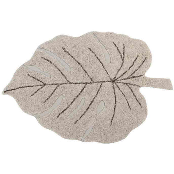 Lorena Canals Baumwollteppich Monstera Leaf Natural Kinderzimmerteppich