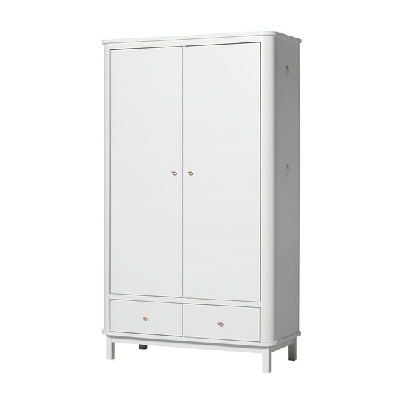 Oliver Furniture Kleiderschrank Wardrob 2türig Wood Collection, weiss 041352
