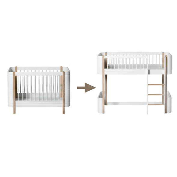 Oliver Furniture Wood Collection Mini+ Basic in Eiche/Weiss Kinderbett Babybett Kinderzimmer Kinderzimmerinspiration