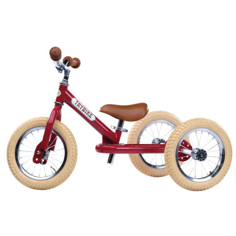 Trybike, 2 in 1, Dreirad/Laufrad, vintage red