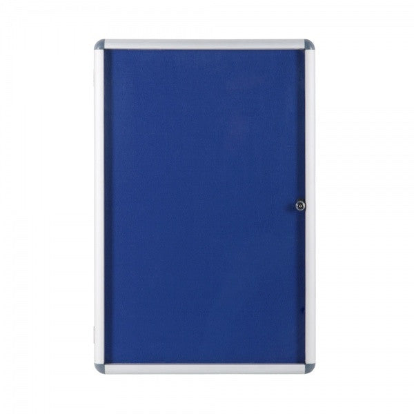 Economy Blue Felt Lockable T erproof Noticeboard on exterior bulletin board display