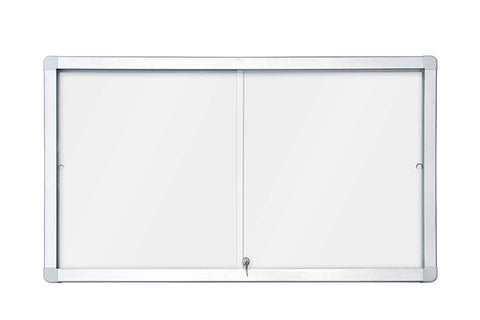 Sliding Showcase with Aluminium Frame - Magnetic Whiteboard
