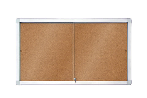 Sliding Showcase with Aluminium Frame - Cork