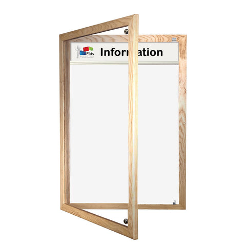 Magnetic Tamperproof Lockable Whiteboard with Header Panel, Wooden Frame