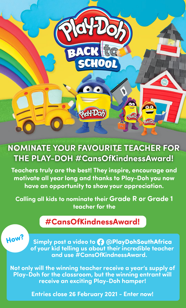 Nominate a Grade R or Grade 1 Teacher and Win with Play-Doh #CansOfKindnessAward