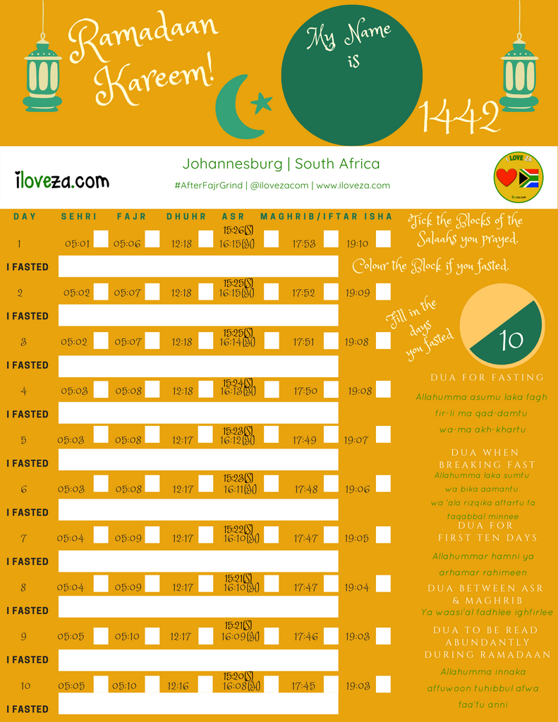 Ramadaan 1442 Calendar for South African Cities including a Special Calendar for Children