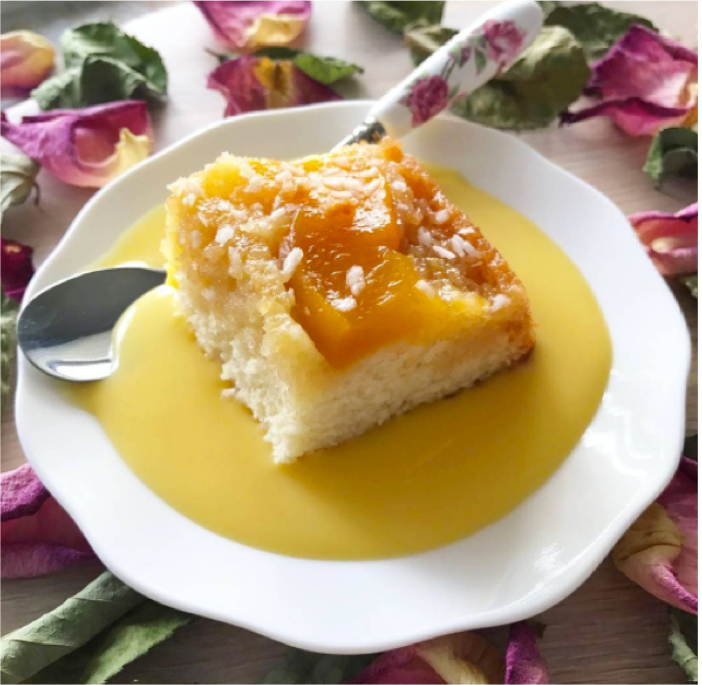 Recipe: Upside Down Peach Cake by Aniseeds