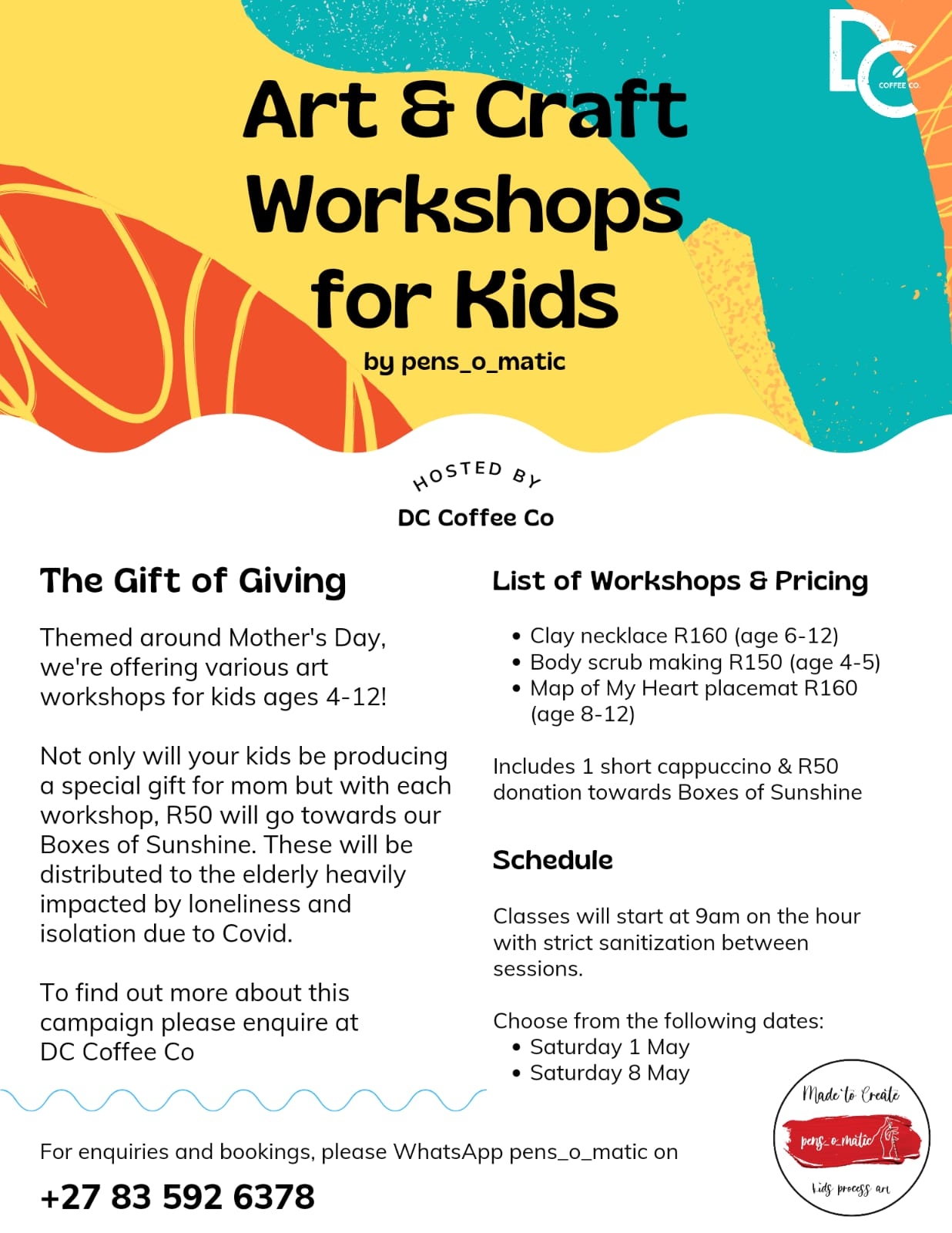 Art & Craft Workshop for Kids, Mothers Day, Pens_o_matic