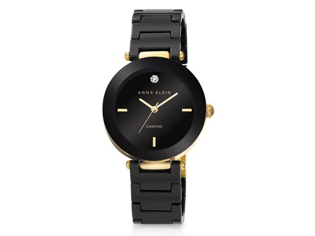 Anne Klein - Ladies' Black Ceramic Diamond Watch - iloveza.com