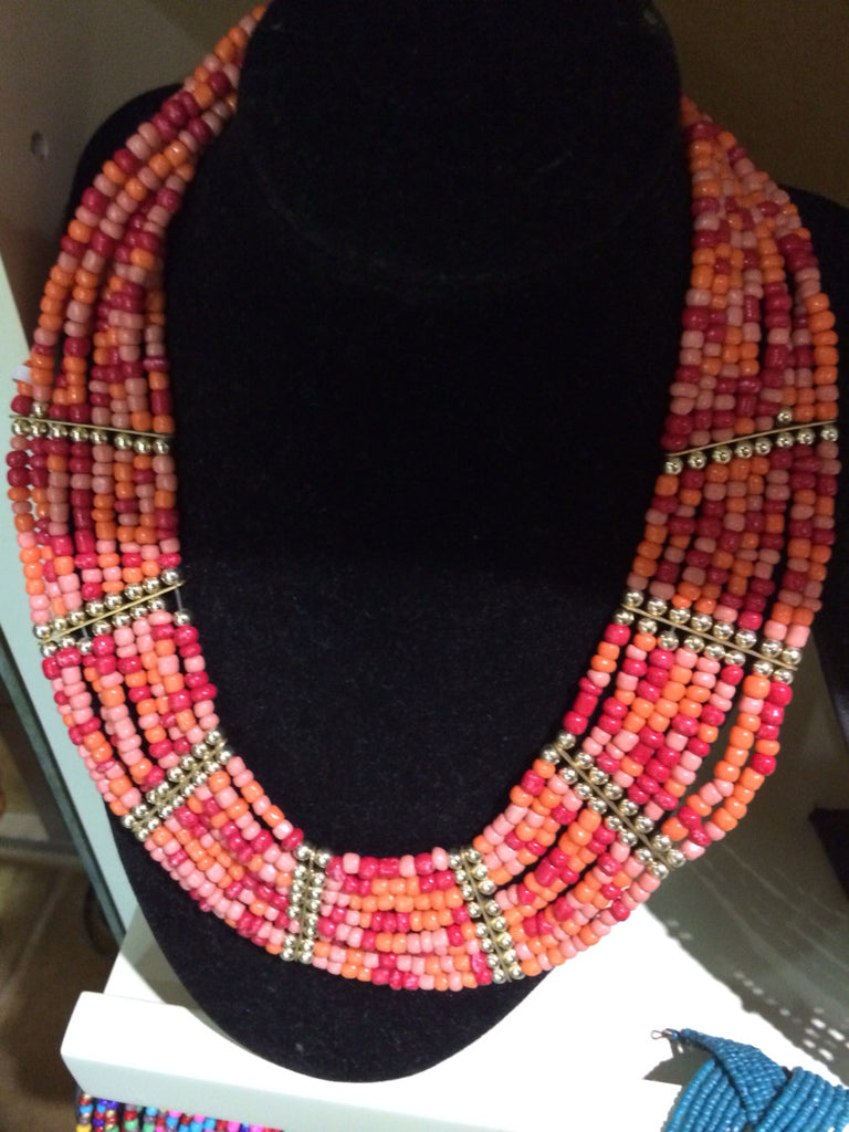 African Beaded Necklace (Pink and Orange) - iloveza.com