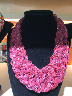African Beaded Necklace (Pink) - iloveza.com