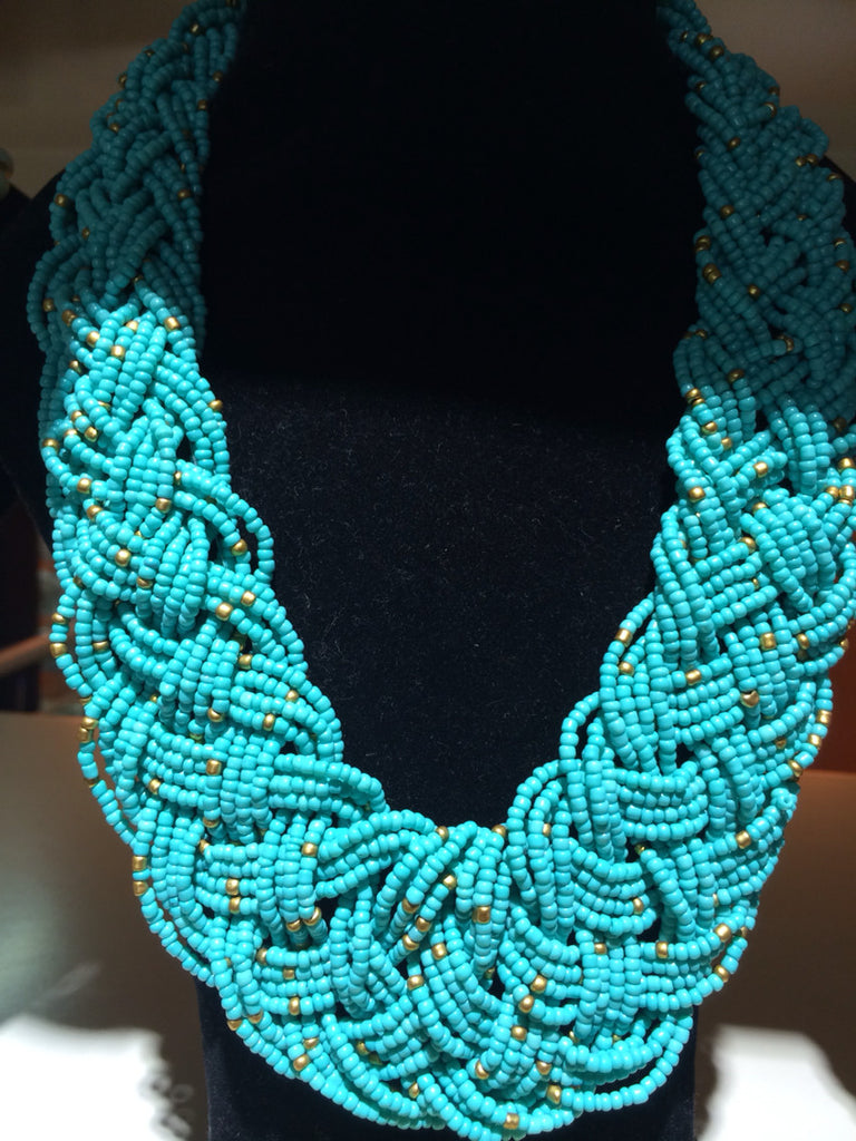 African Beaded Necklace (Blue) - iloveza.com