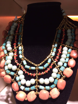 African Beads Necklace (Orange, Blue and White) - iloveza.com