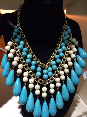 African Beads Necklace (Blue and White) - iloveza.com