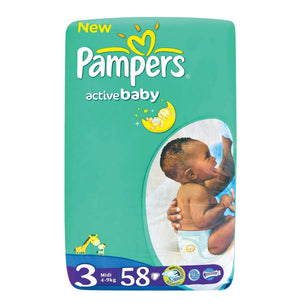 Pampers Active Baby Nappies (58) Size 3 (4-9kg) - iloveza.com