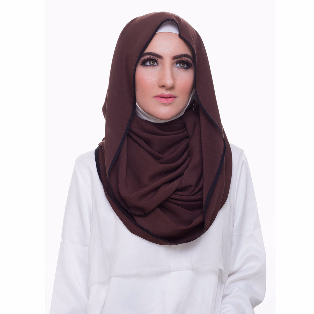 Pearl Daisy - Coffee Bean Bordered Weightless Large Hijab - iloveza.com - 1