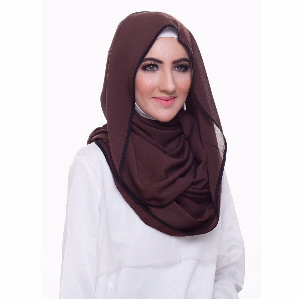 Pearl Daisy - Coffee Bean Bordered Weightless Large Hijab - iloveza.com - 2