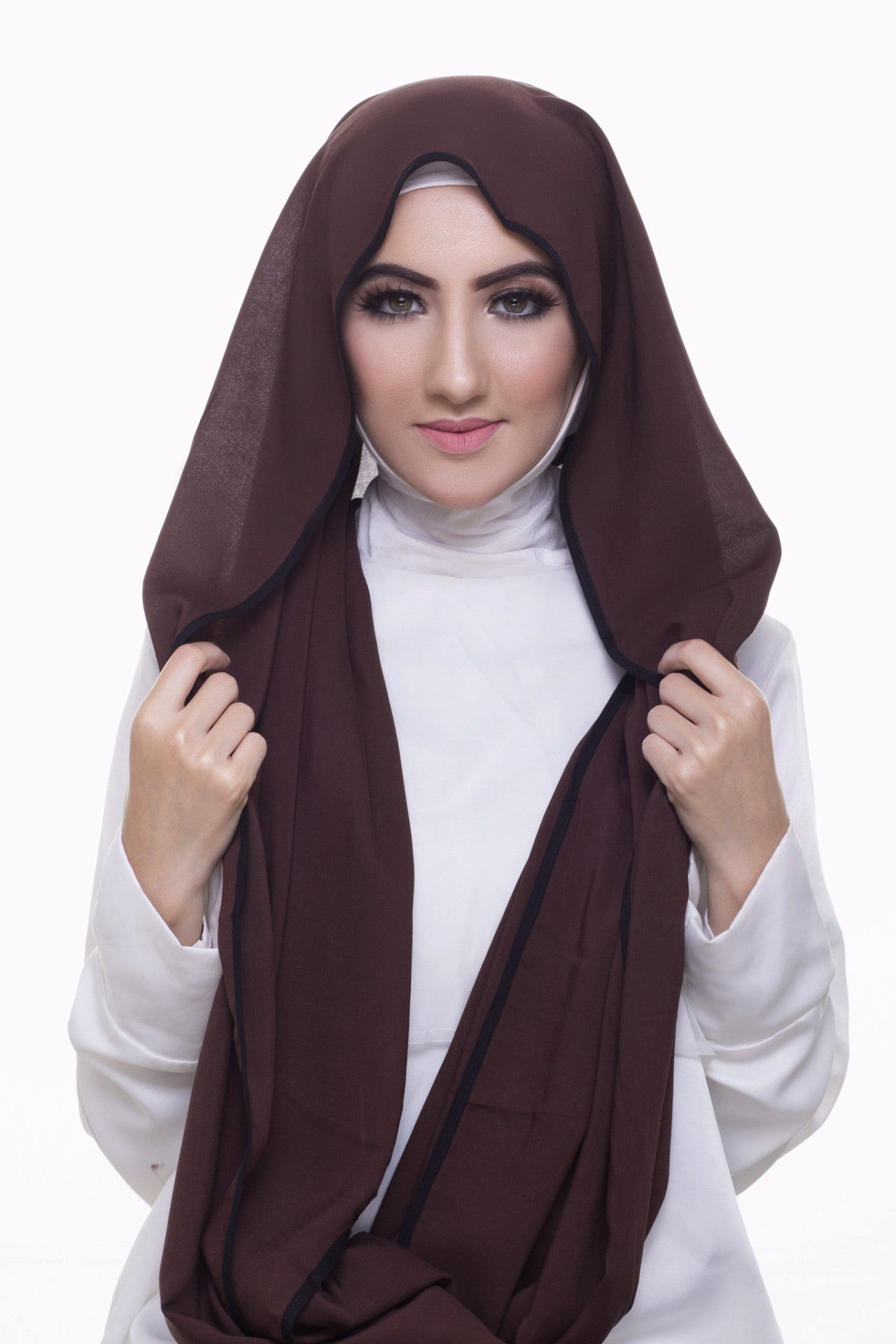 Pearl Daisy - Coffee Bean Bordered Weightless Large Hijab - iloveza.com - 3
