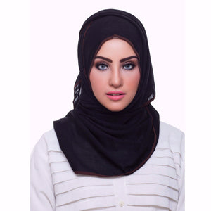Pearl Daisy - Ebony Bordered Weightless Hi-Lo Hoojab - iloveza.com - 1