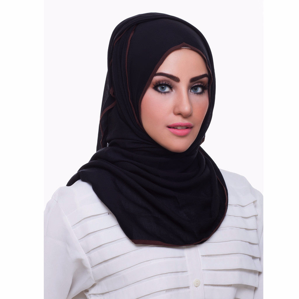 Pearl Daisy - Ebony Bordered Weightless Hi-Lo Hoojab - iloveza.com - 2